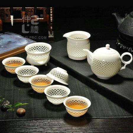 蜂窝玲珑瓷茶具-茶壶