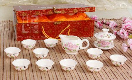 14头玉瓷茶具-白淮牡丹