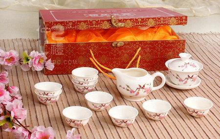 14头玉瓷茶具-花鸟