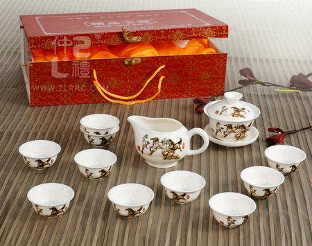 14头玉瓷茶具-马到成功