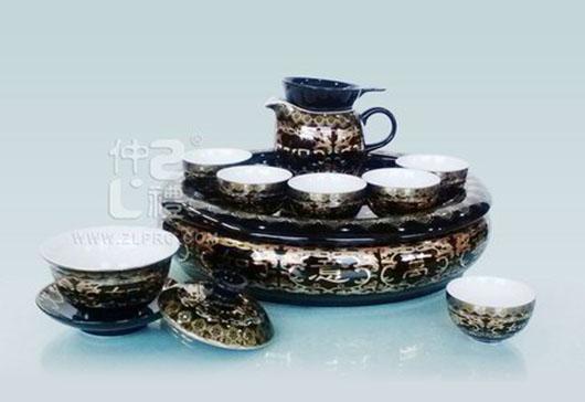 """黑釉万事如意配11""""盘方柄壶小苹果杯12头茶具组"""