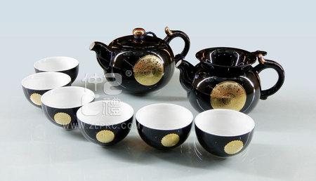 """黑釉万事如意配11""""盘新茶碗新茶杯12头茶具组"""