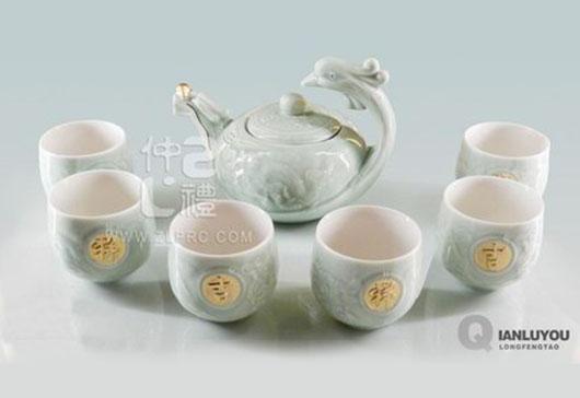 浅绿釉大号龙凤壶8头茶具组