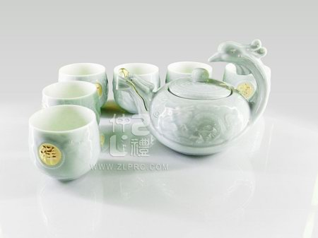 梅子青釉大号龙凤壶8头茶具组
