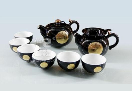 黑釉万事如意圆茶壶新茶杯10头茶具组