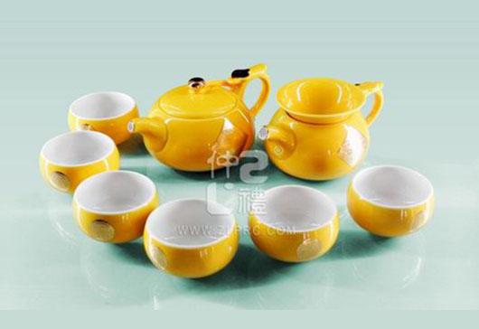 新黄釉万事如意小圆茶壶小苹果杯10头茶具组