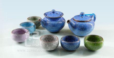 蓝色冰裂釉茶海茶备配6色杯10功夫头茶具
