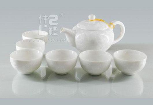 白色结晶釉大号方柄壶大新茶杯8头茶具组